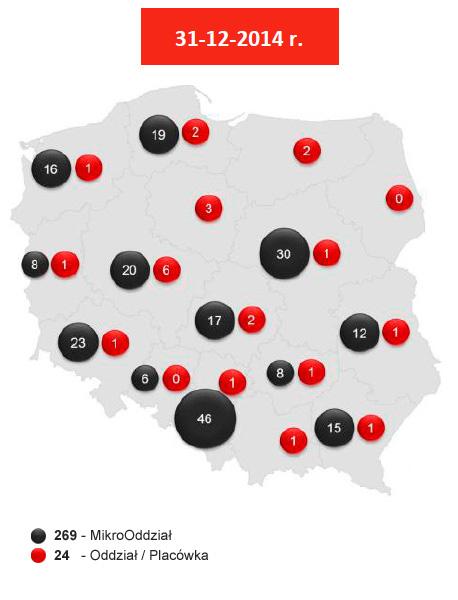 Sieć tradycyjnych kanałów dystrybucji Banku Pocztowego S.A. wpodziale nawojewództwa 2014