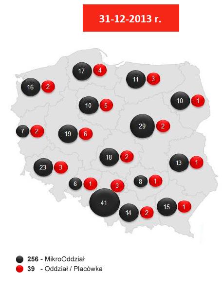 Sieć tradycyjnych kanałów dystrybucji Banku Pocztowego S.A. wpodziale nawojewództwa 2013